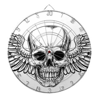 Winged Skull Vintage Woodcut Etched Style Dartboard
