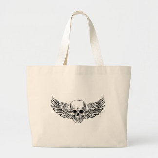 Winged Skull Vintage Woodcut Etched Style Large Tote Bag