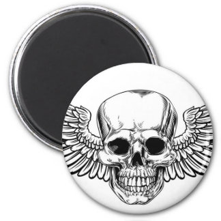 Winged Skull Vintage Woodcut Etched Style Magnet