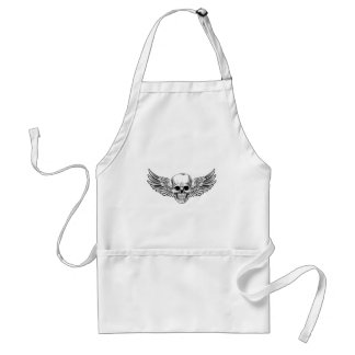 Winged Skull Vintage Woodcut Etched Style Standard Apron