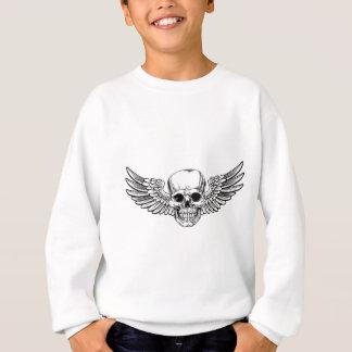 Winged Skull Vintage Woodcut Etched Style Sweatshirt