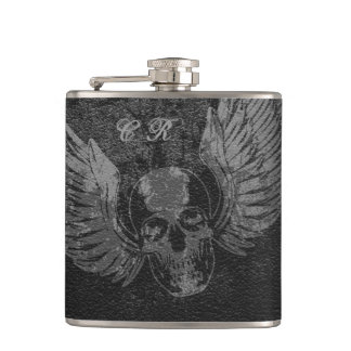 Winged Skull Vinyl Wrapped Flask, 6 oz. Hip Flask
