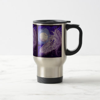 Winged unicorn in front of Moon Travel Mug