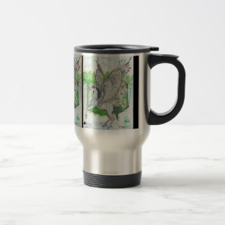Winged unicorn in front of waterfall travel mug