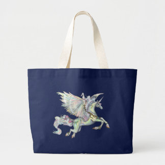 Winged Unicorn Pegacorn Pegasus Winged Horse Large Tote Bag