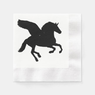 Winged Unicorn Silhouette Disposable Napkins