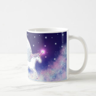 Winged unicorn with stars coffee mug