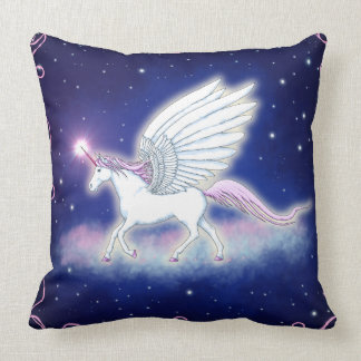 Winged unicorn with stars throw pillow