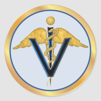 Winged Veterinary Caduceus Classic Round Sticker