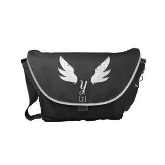 Winged White Monogram | Messenger Bag