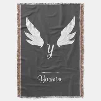 Winged White Monogram | Throw Blanket