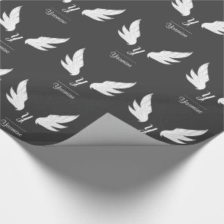 Winged White Monogram | Wrapping Paper