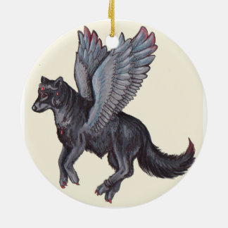 Winged Wolf Ceramic Ornament