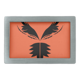 Wings black on Orange Rectangular Belt Buckle
