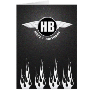 Wings & Flames : Biker Birthday Card