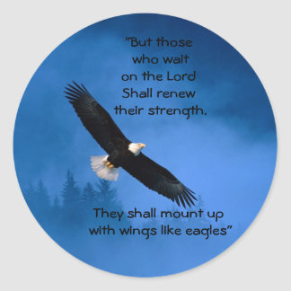 Wings Like Eagles Inspirational Classic Round Sticker