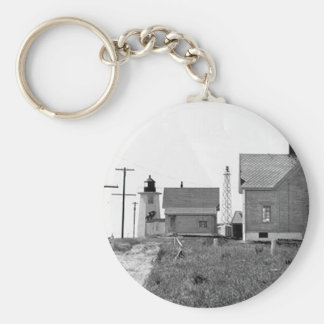 Wings Neck Lighthouse Basic Round Button Keychain