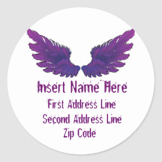 Wings Return Address Classic Round Sticker