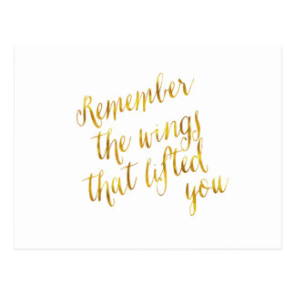 Wings That Lifted You Quote Faux Gold Foil Postcard