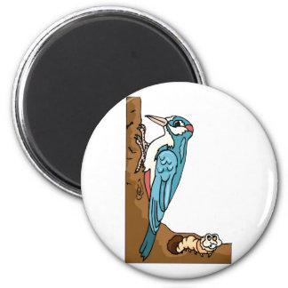Winifred Woodpecker 2 Inch Round Magnet