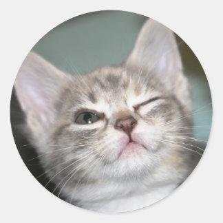 *wink* classic round sticker