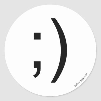 Wink emoticon classic round sticker