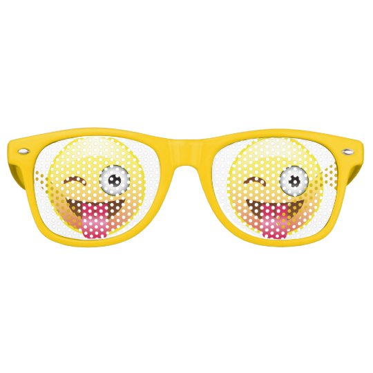 Wink Happy Emoji Face Tongue Out Party Glasses Party Sunglasses