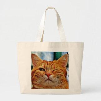 Wink kitty jumbo tote bag