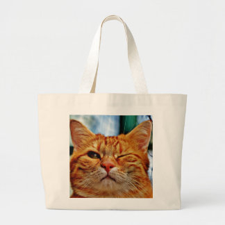 Wink kitty large tote bag