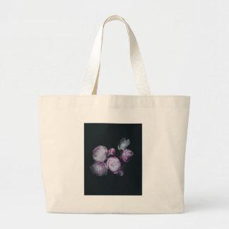 Wink Rose Buds dark background Large Tote Bag