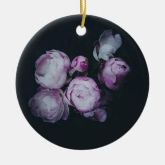 Wink Rose Buds dark background Round Ceramic Ornament