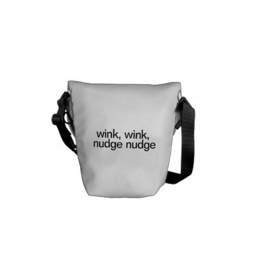 wink wink, nudge nudge messenger bag