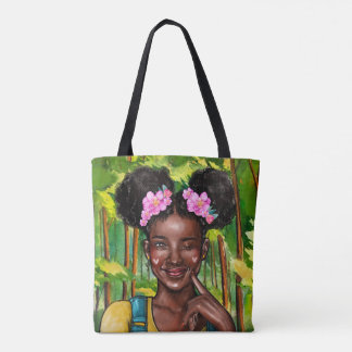 Winking Afro Girl Tote