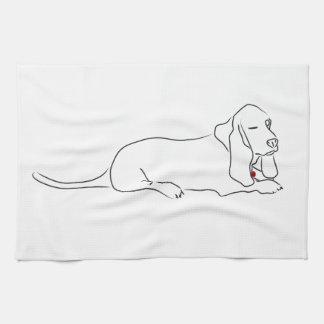 Winking Basset Hound Kitchen Towel