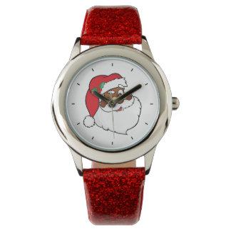 Winking Black Santa Keeping Christmas Secrets Wrist Watch