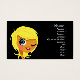 Winking Blonde Girl Business Cards