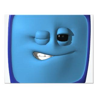 winking blue square smiley personalized invite