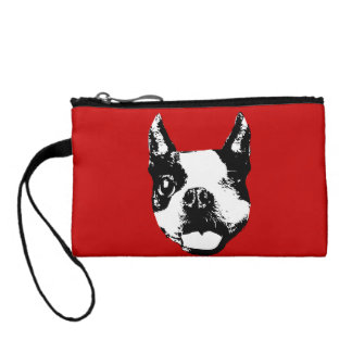 Winking Boston Terrier Change Purses
