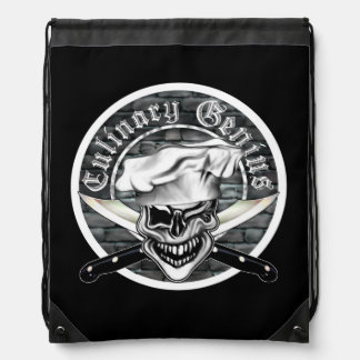 Winking Chef Skull Cinch Bag