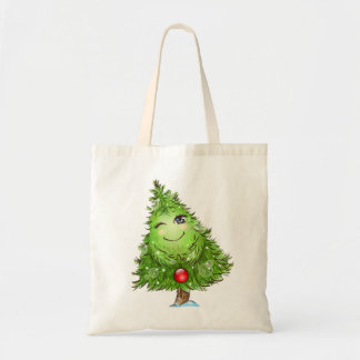 Winking Christmas Tree Tote Bag