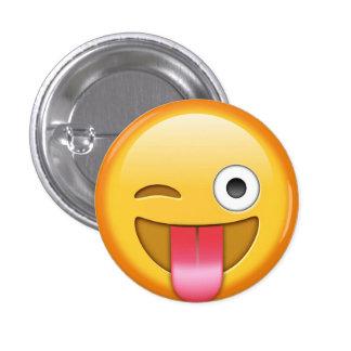 Winking emoji smiley badge 1 inch round button