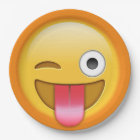 Winking emoji smiley paper plate