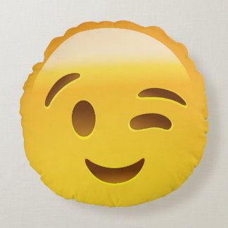 Winking Face Emoij Round Pillow