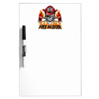 Winking Firefighter Skull and flaming Axes Dry Erase Board