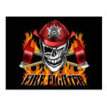 Winking Firefighter Skull and flaming Axes Postcard