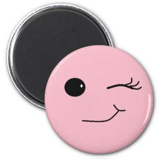 Winking Flirty Smiley Face  Refrigerator Magnet