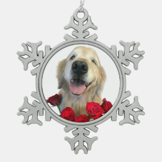 Winking Golden Retriever Dog With Red Roses Snowflake Pewter Christmas Ornament
