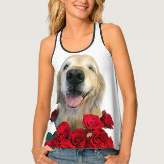 Winking Golden Retriever Dog With Red Roses Tank Top