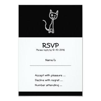 "Winking Gray Cat. 3.5"" X 5"" Invitation Card"