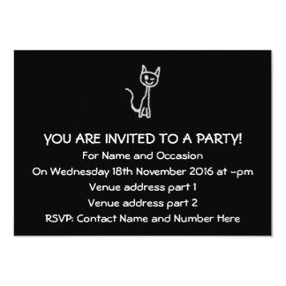 "Winking Grey Cat. 4.5"" X 6.25"" Invitation Card"